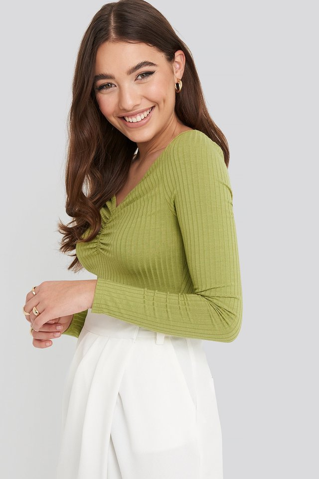 Front Ruched Ribbed Top Olive Green