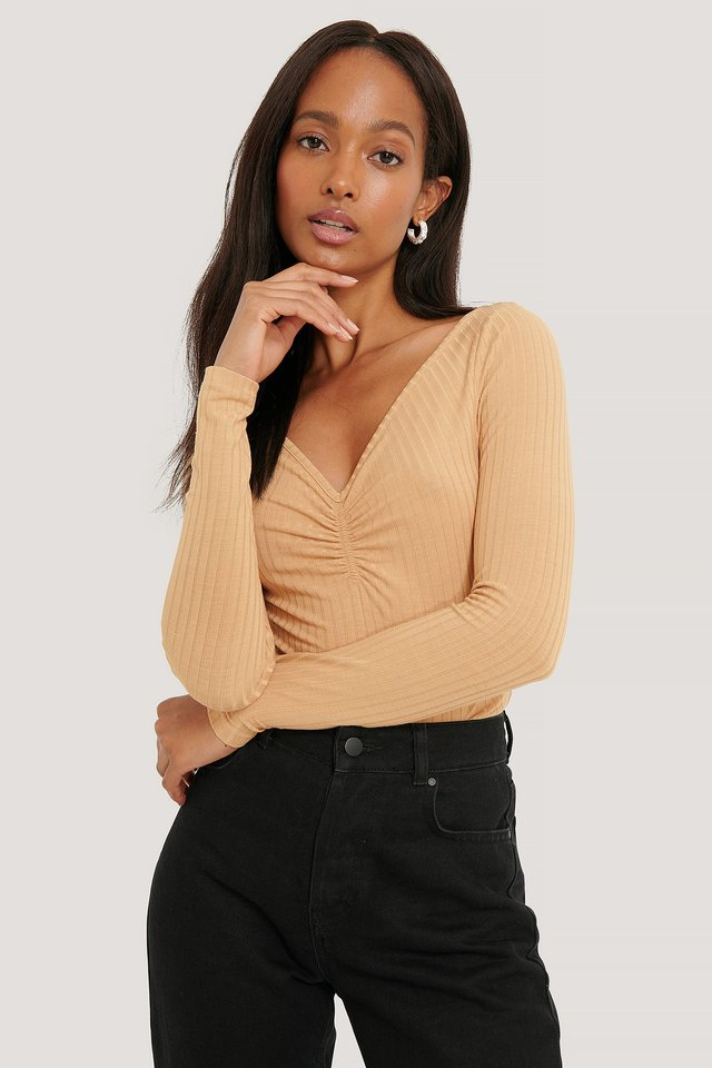 Front Ruched Ribbed Top Light Beige