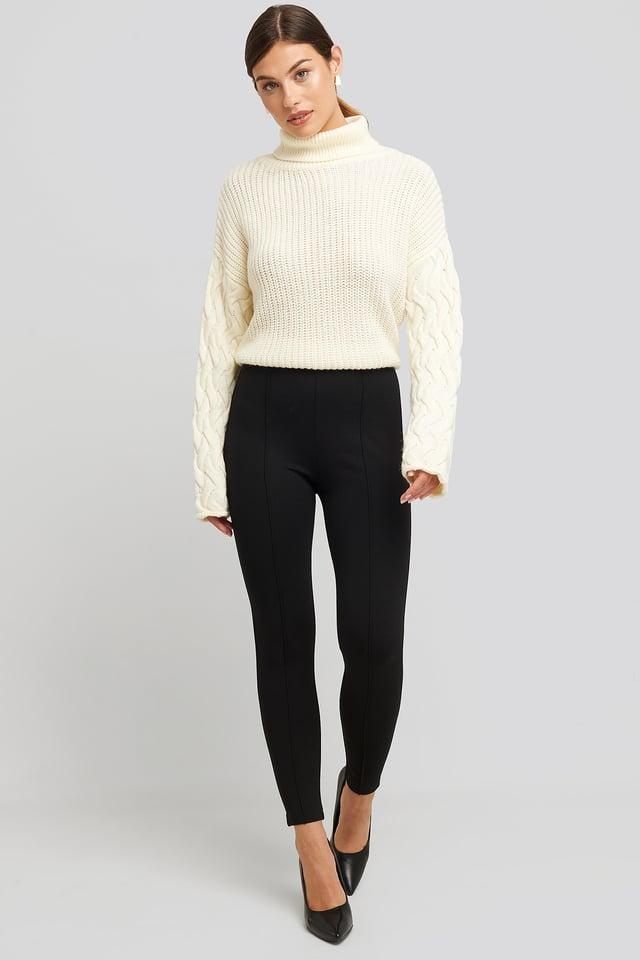 Black Front Seam Jersey Pants