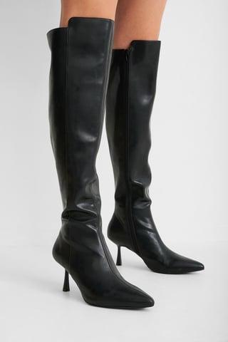 Black Strakke Hoge Laarzen Met Naad Aan De Voorkant