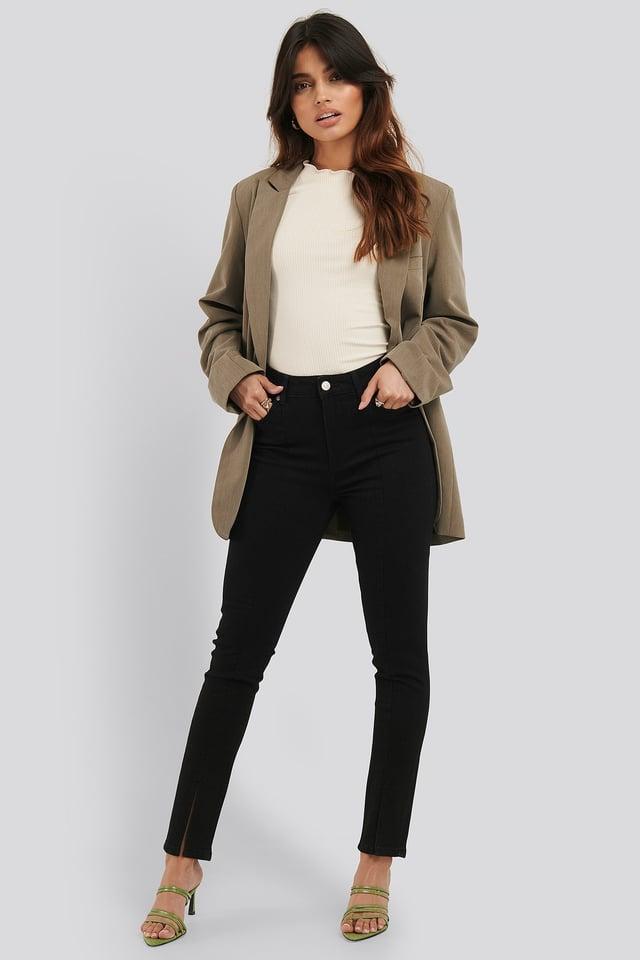 Skinny Jeans Med Front Slids Black
