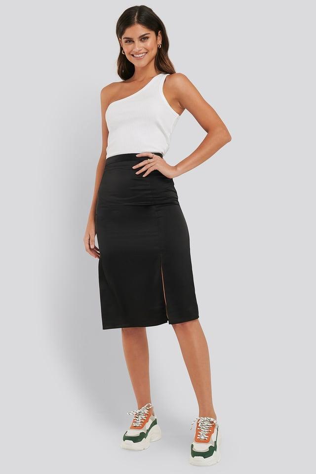 Front Slit Satin Skirt Black