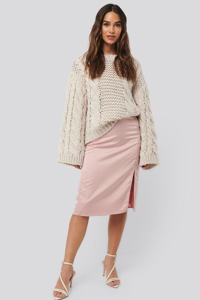 Front Slit Satin Skirt Light Pink