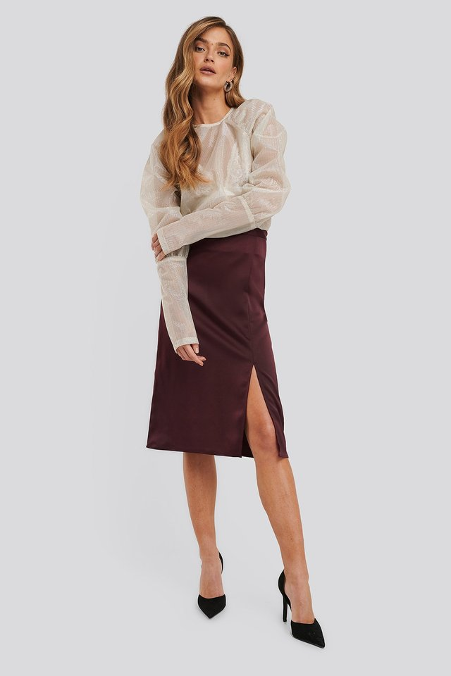 Burgundy Front Slit Satin Skirt