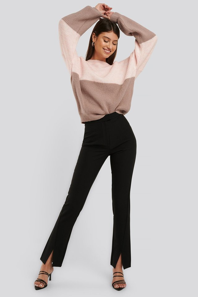 Front Slit Suit Pants Black