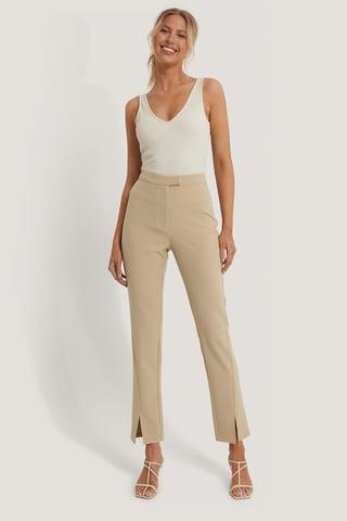 Beige Front Slit Suit Pants