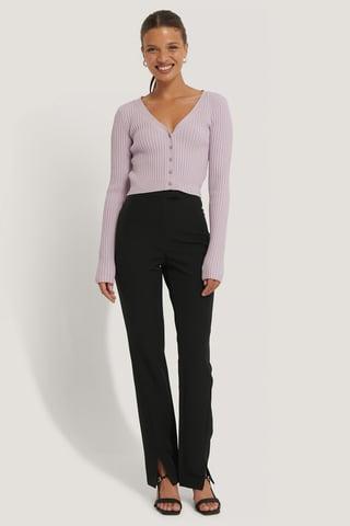 Black Front Slit Suit Pants