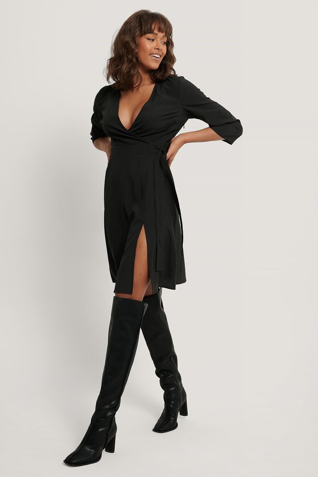 Black Front Slit Wrap Dress