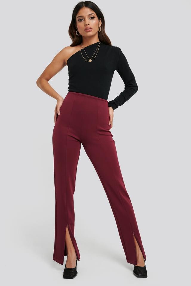 Front Slit ZipperJersey Skinny Trousers Burgundy