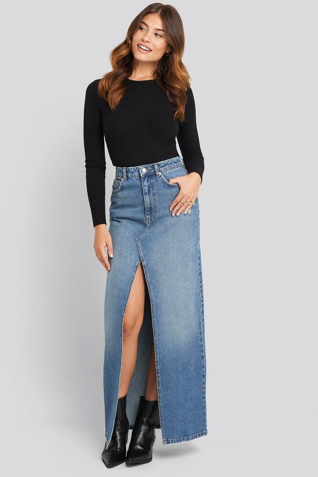 Front Split Maxi Denim Skirt Blue