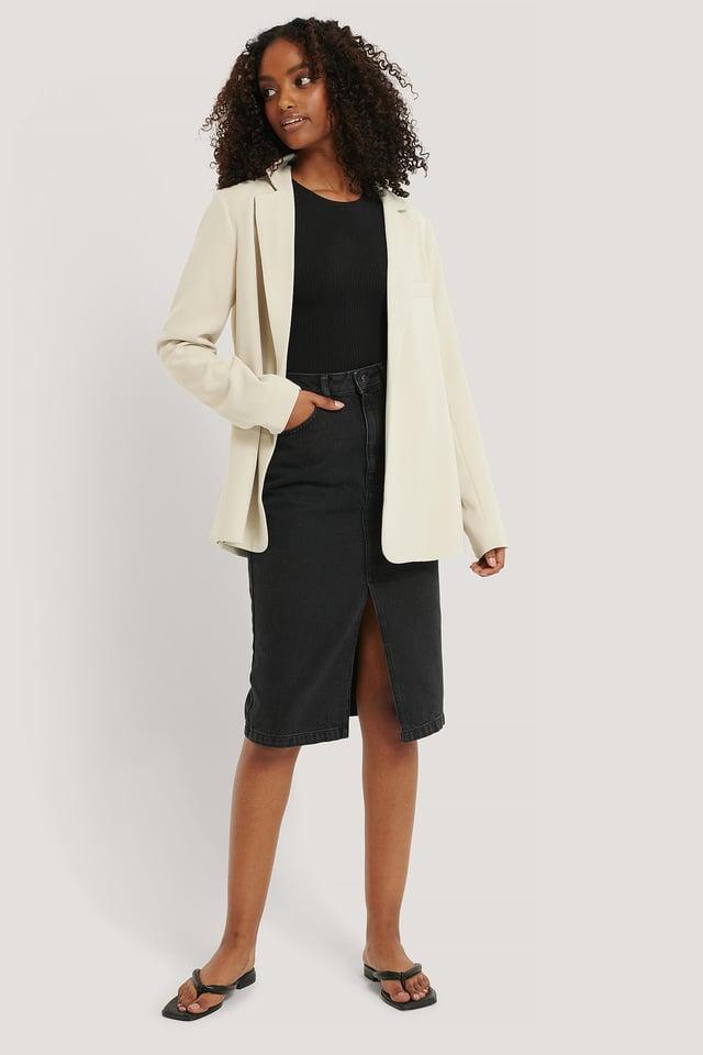 Front Split Midi Denim Skirt Grey Wash