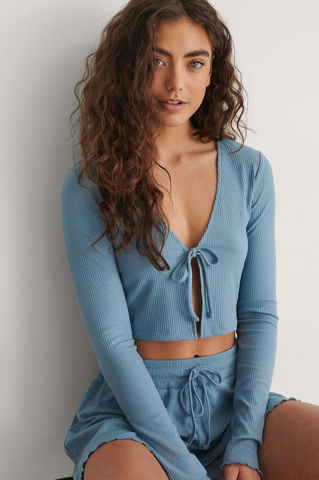 Blue Front Tie Ribbed Loungewear Top