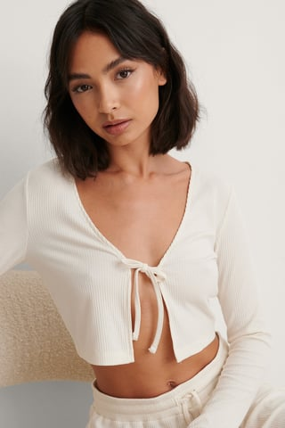 Offwhite Front Tie Ribbed Loungewear Top