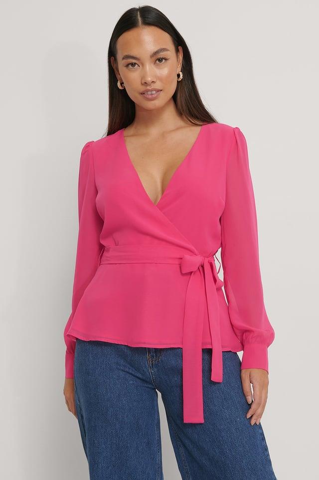 Front Wrap Chiffon Blouse Pink