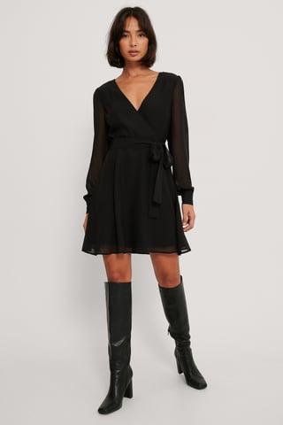 Black Szyfonowa Sukienka Z Kopertowym Przodem