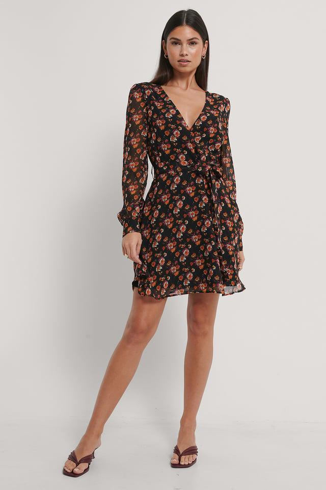 Black/Flower Print Front Wrap Chiffon Dress