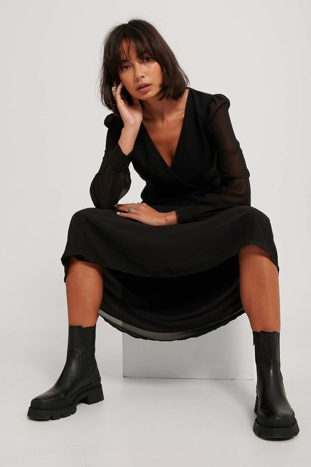 Szyfonowa Sukienka Midi Z Kopertowym Przodem Black