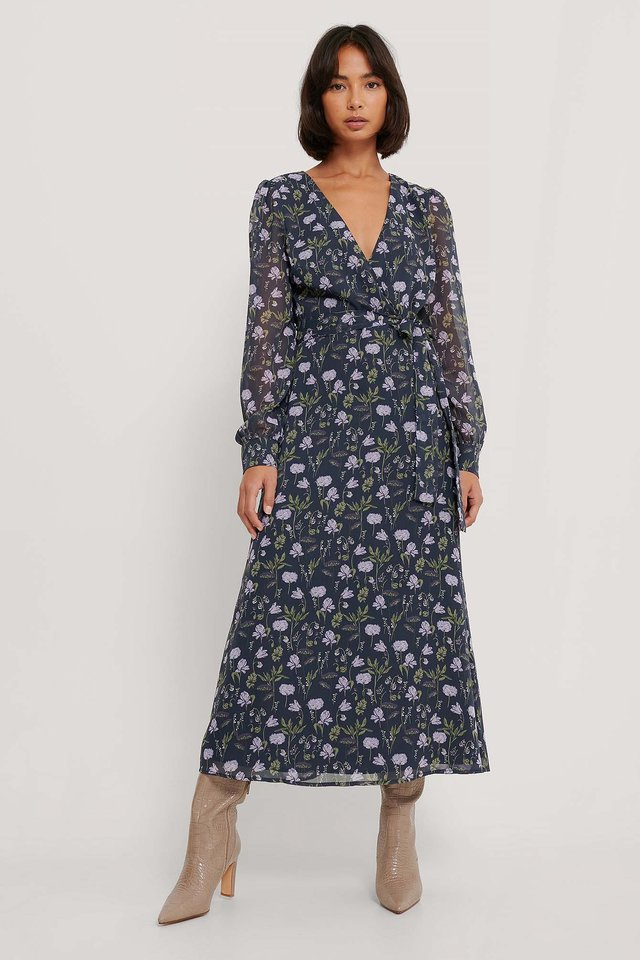 Front Wrap Chiffon Midi Dress Dark Flower Bed