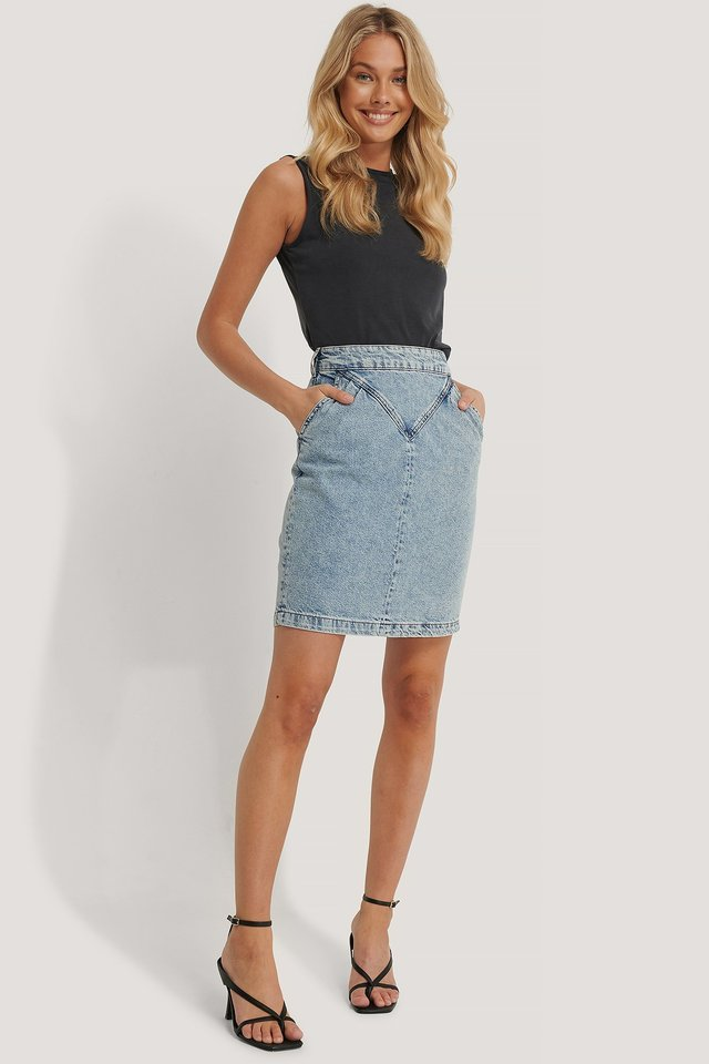 Light Blue Front Yoke Denim Skirt