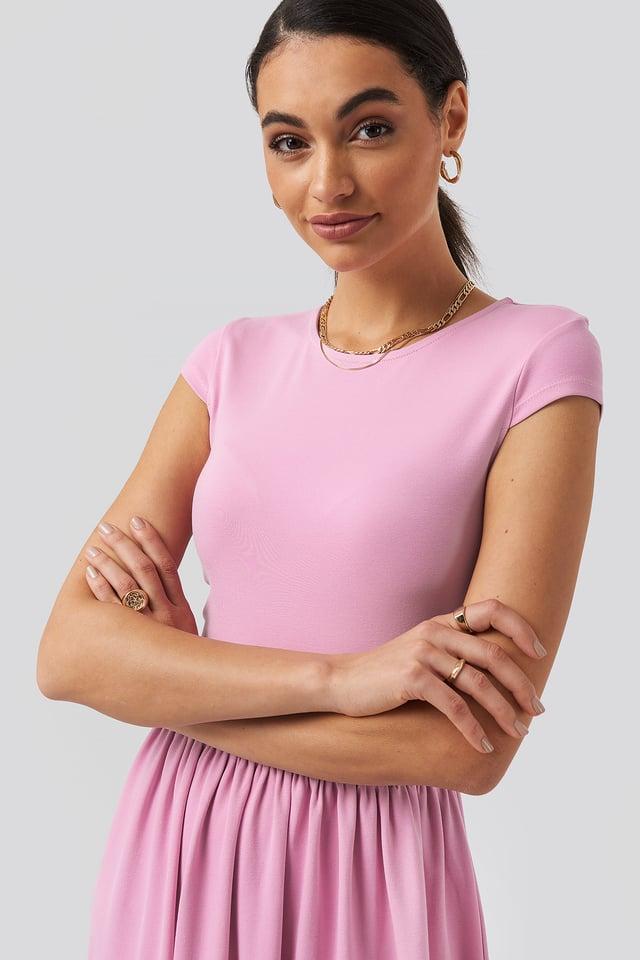 Full Skirt Jersey Maxi Dress Pink
