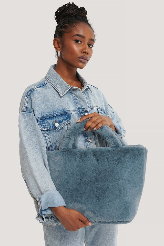 Furry Mini Tote Stone Blue