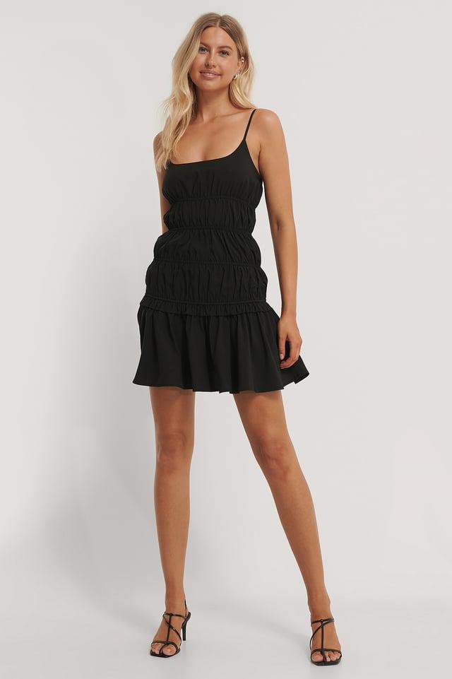 Black Minikjole Med Rynkedetaljer