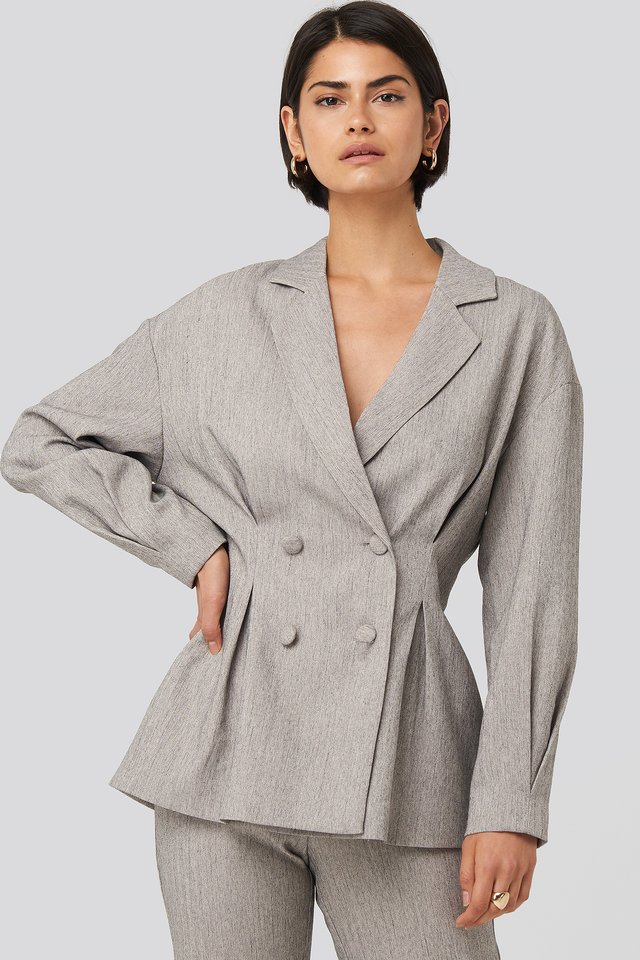 Gathered Double Breasted Blazer Grey Melange
