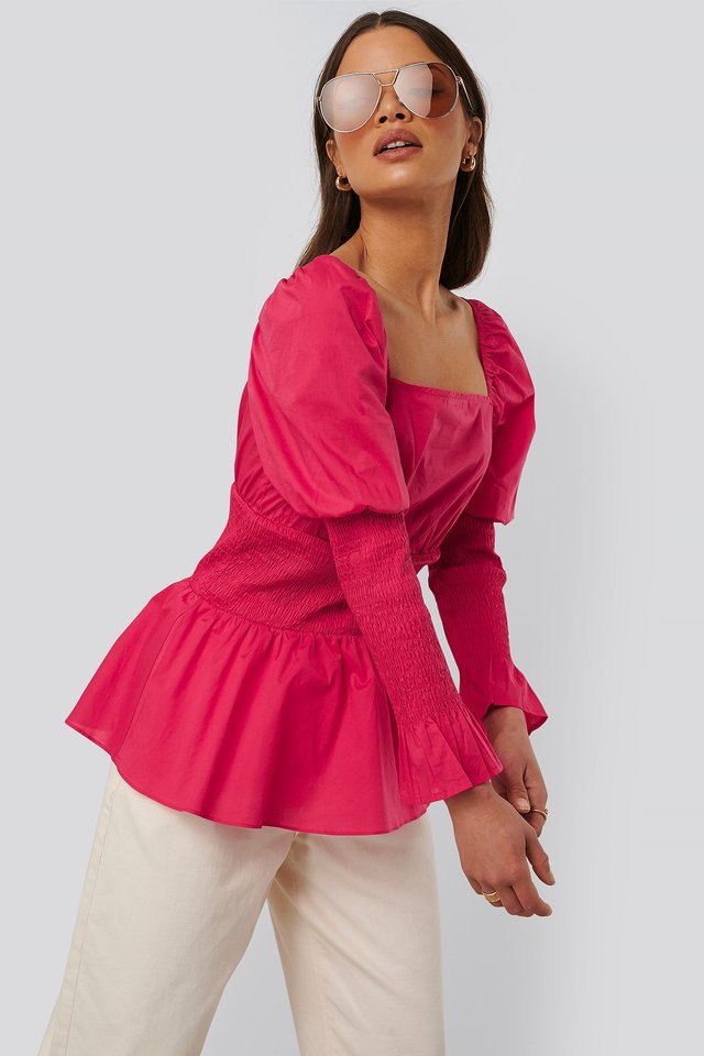 Gathered Effect Blouse Fuchsia