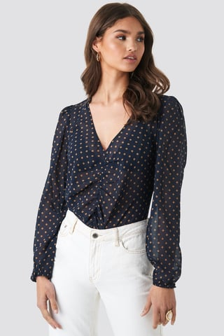 Blue/Beige Dots Gathered Front LS Blouse