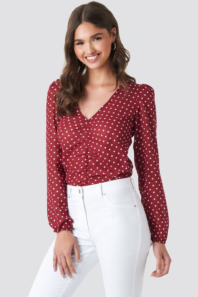Gathered Front LS Blouse Red/White Dots