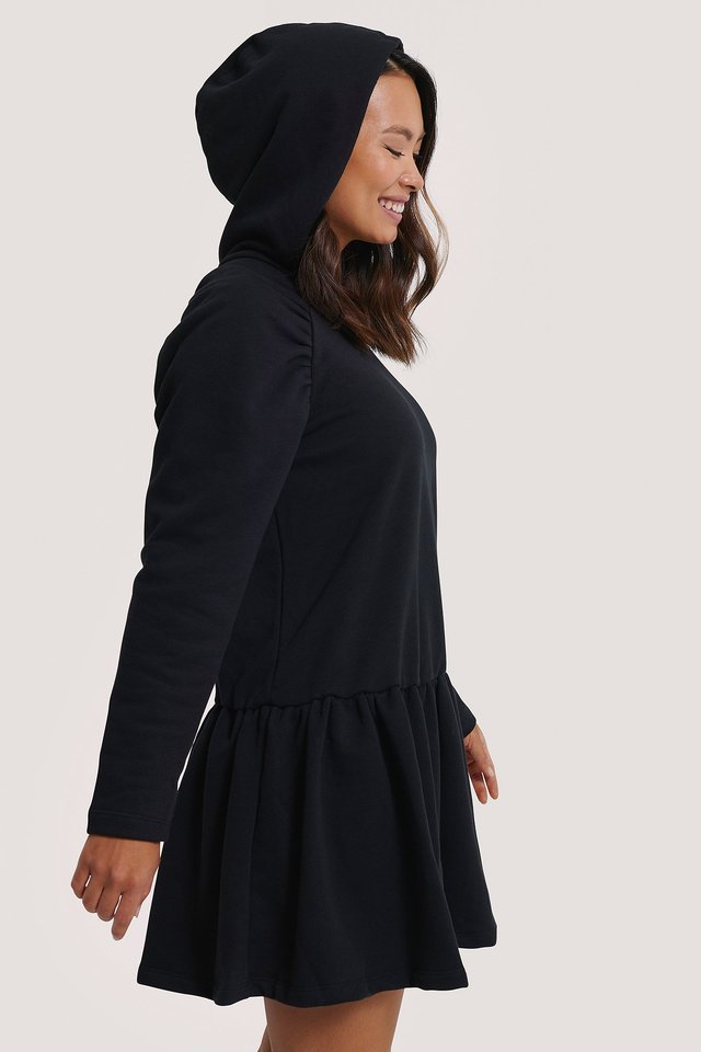 Gathered Hoodie Dress Black
