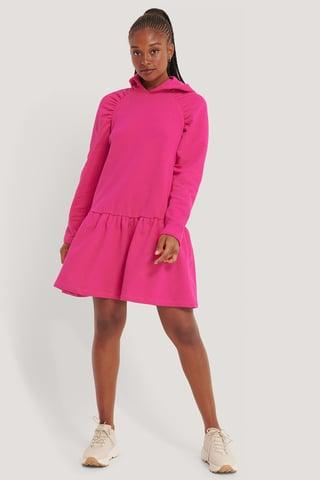 Pink Gathered Hoodie Dress