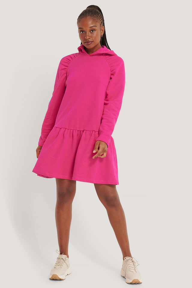 Gathered Hoodie Dress Pink