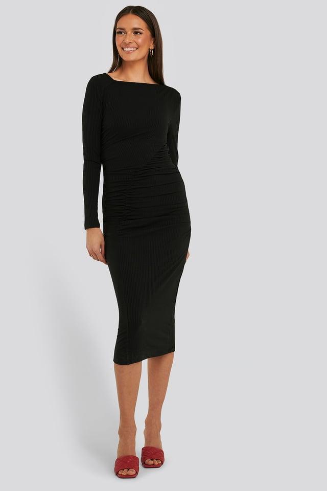 Black Gathered Jersey Dress