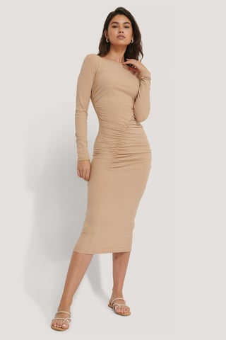 Beige Gathered Jersey Dress