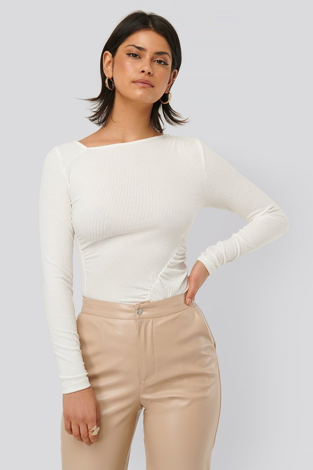White Gathered Jersey Top