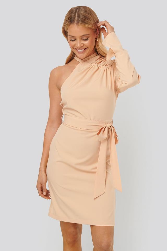 Gathered Neck Dress Apricot