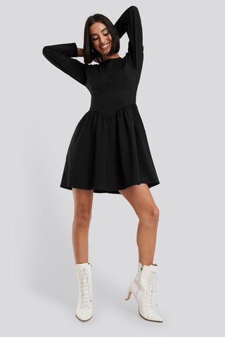 Black Gathered Neck Mini Dress
