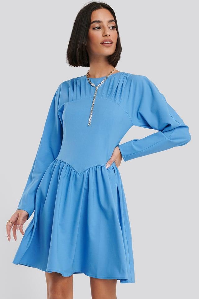 Gathered Neck Mini Dress Blue