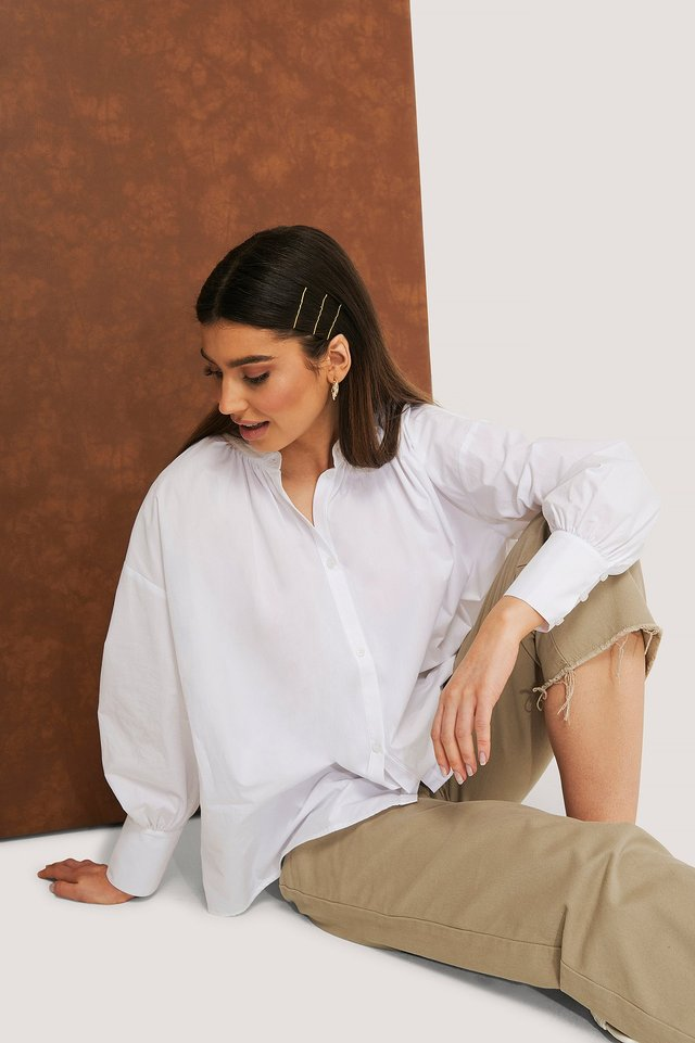 Gathered Neck Shirt White