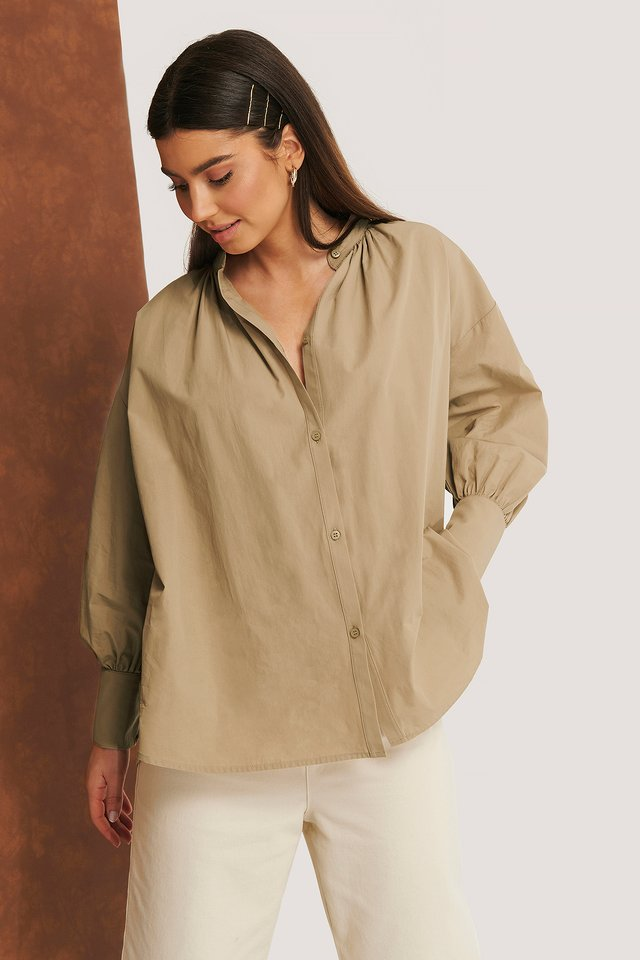 Gathered Neck Shirt Beige