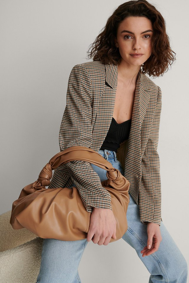 Light Brown Gathered Round Tote