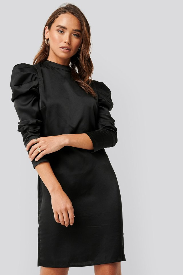 Gathered Satin Dress Black