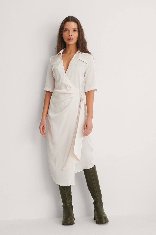 Beige Gathered Satin Shirt Dress