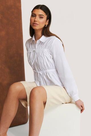 White Skjorte Med Sømdetaljer