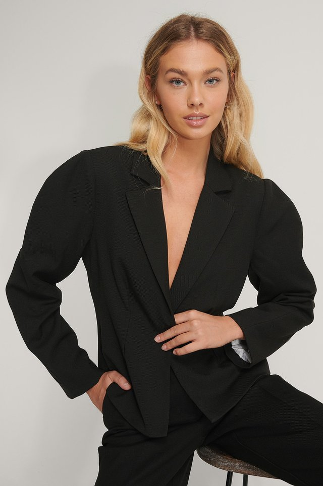Black Gathered Short Blazer