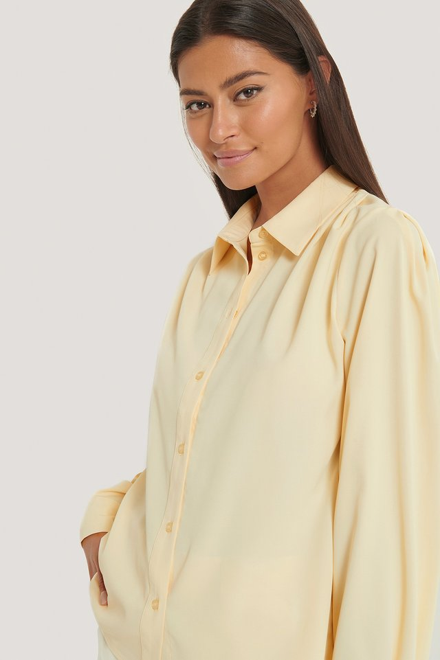 Cream Gathered Shoulder Blouse
