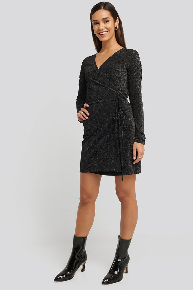 Black Gathered Shoulder Glittery Dress