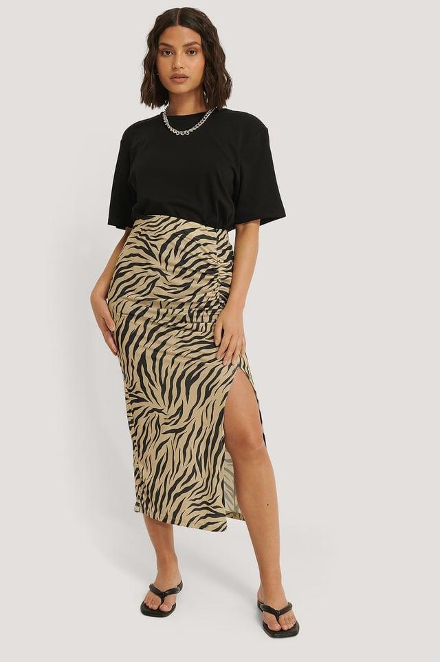 Gathered Side Slit Skirt Zebra