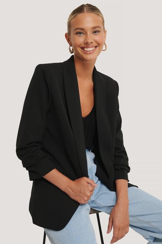 Black Gathered Sleeve Blazer